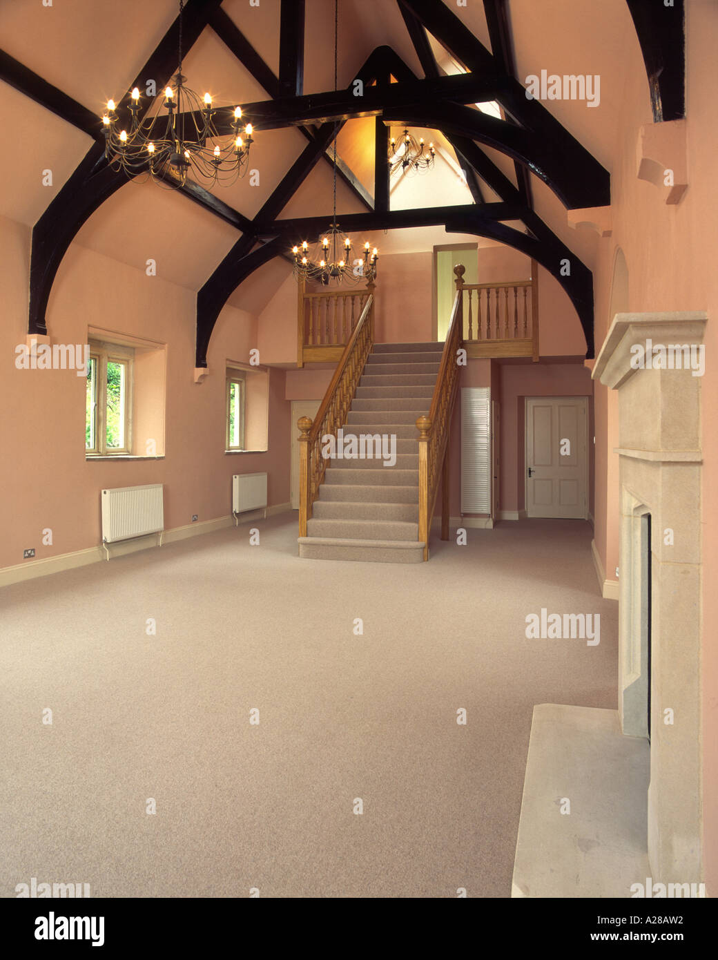 Property Developers Show Home Interior Old School Building Stock Photo Alamy