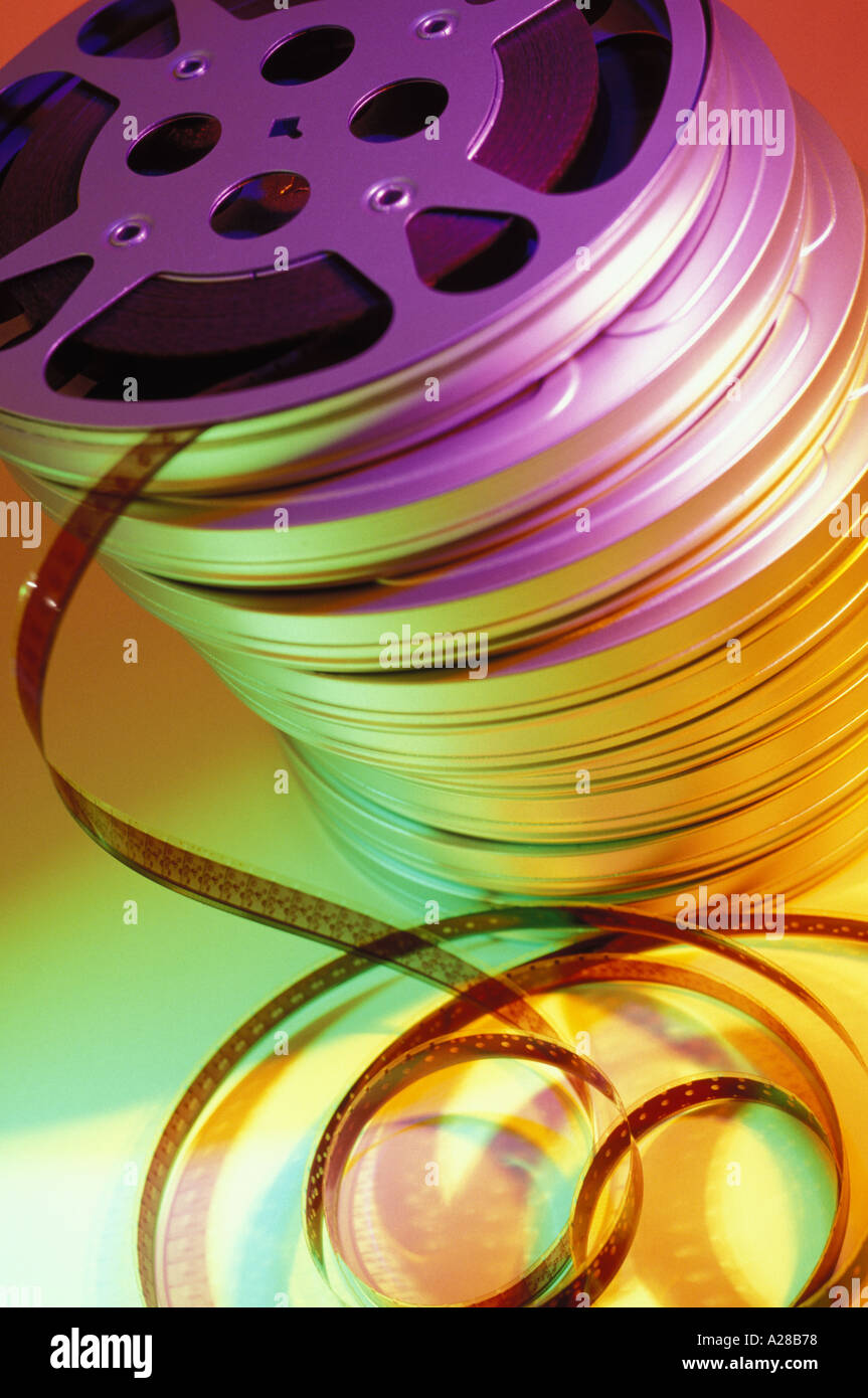 Stack of motion picture reels - Stock Image