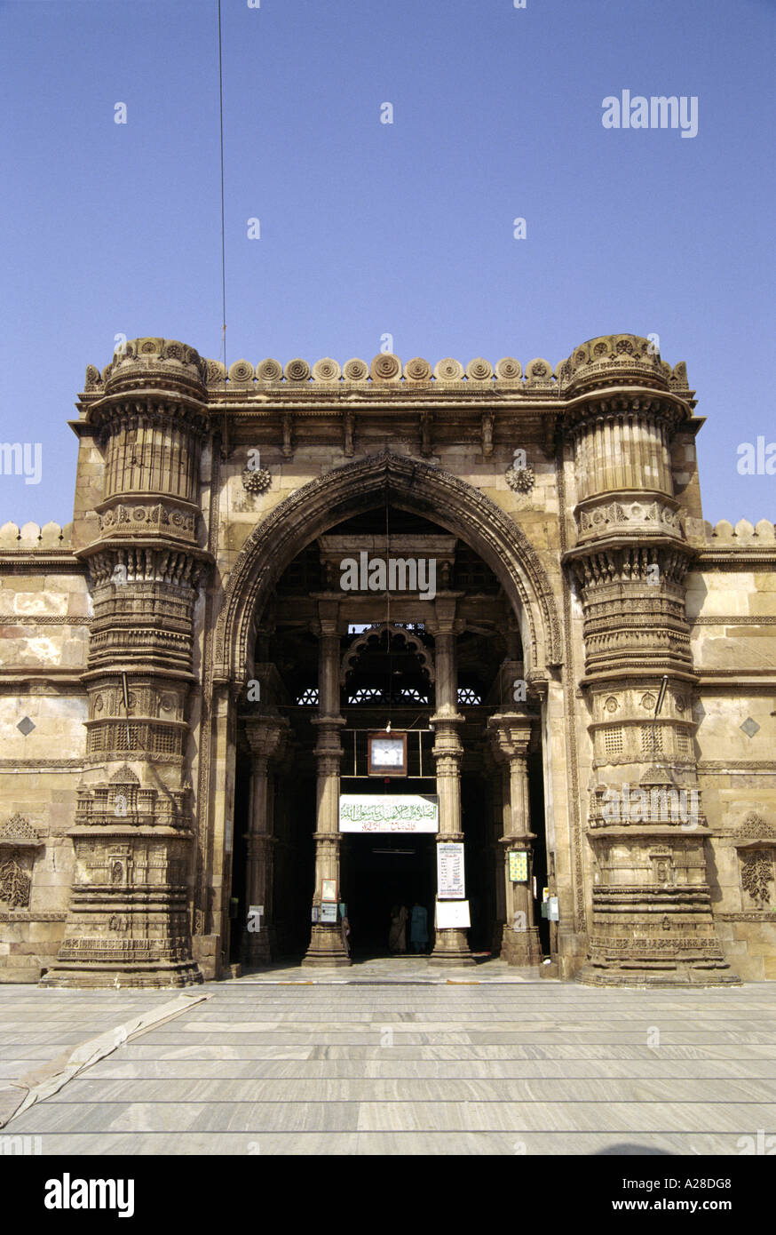 View of the ornately carved entrance to the Jama or Jami Masjid Ahmedabad India - Stock Image