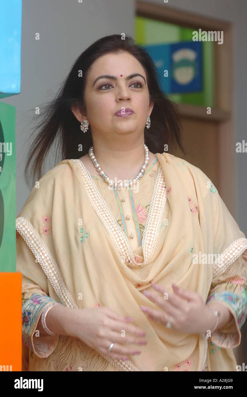 Nita Ambani wife of industrialist Mukesh Ambani of Indian ...