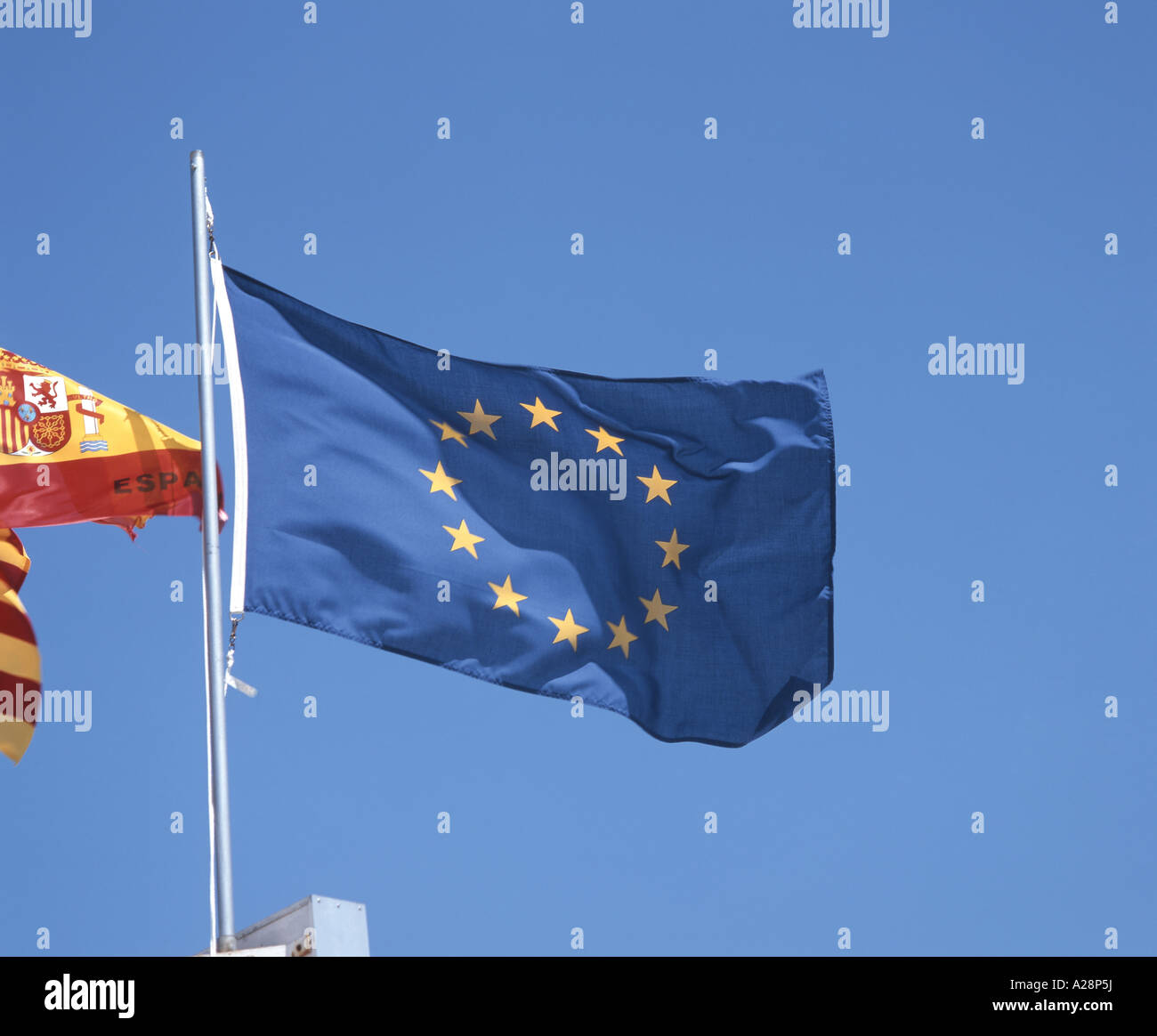 European Union flag, Canary Wharf, London, England, United Kingdom - Stock Image