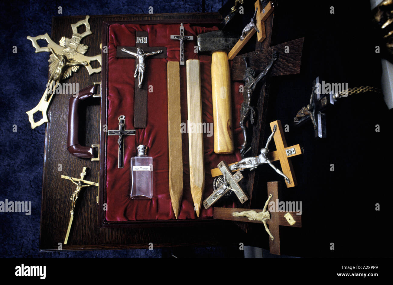a vampire slayers kit at Bishop Sean Manchester's house England Stock Photo