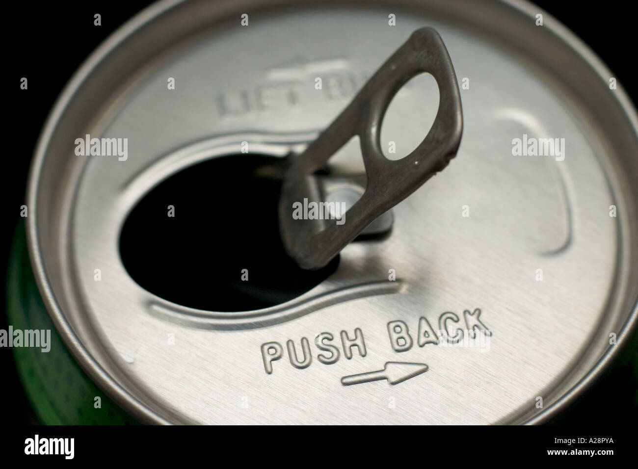 close up of pull ring tab of soft drink can - Stock Image