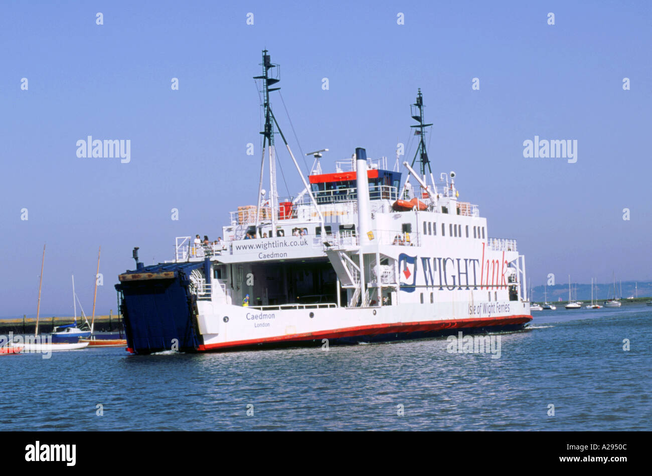 Lymington Car Ferry bound for Yarmouth Isle of Wight - Stock Image