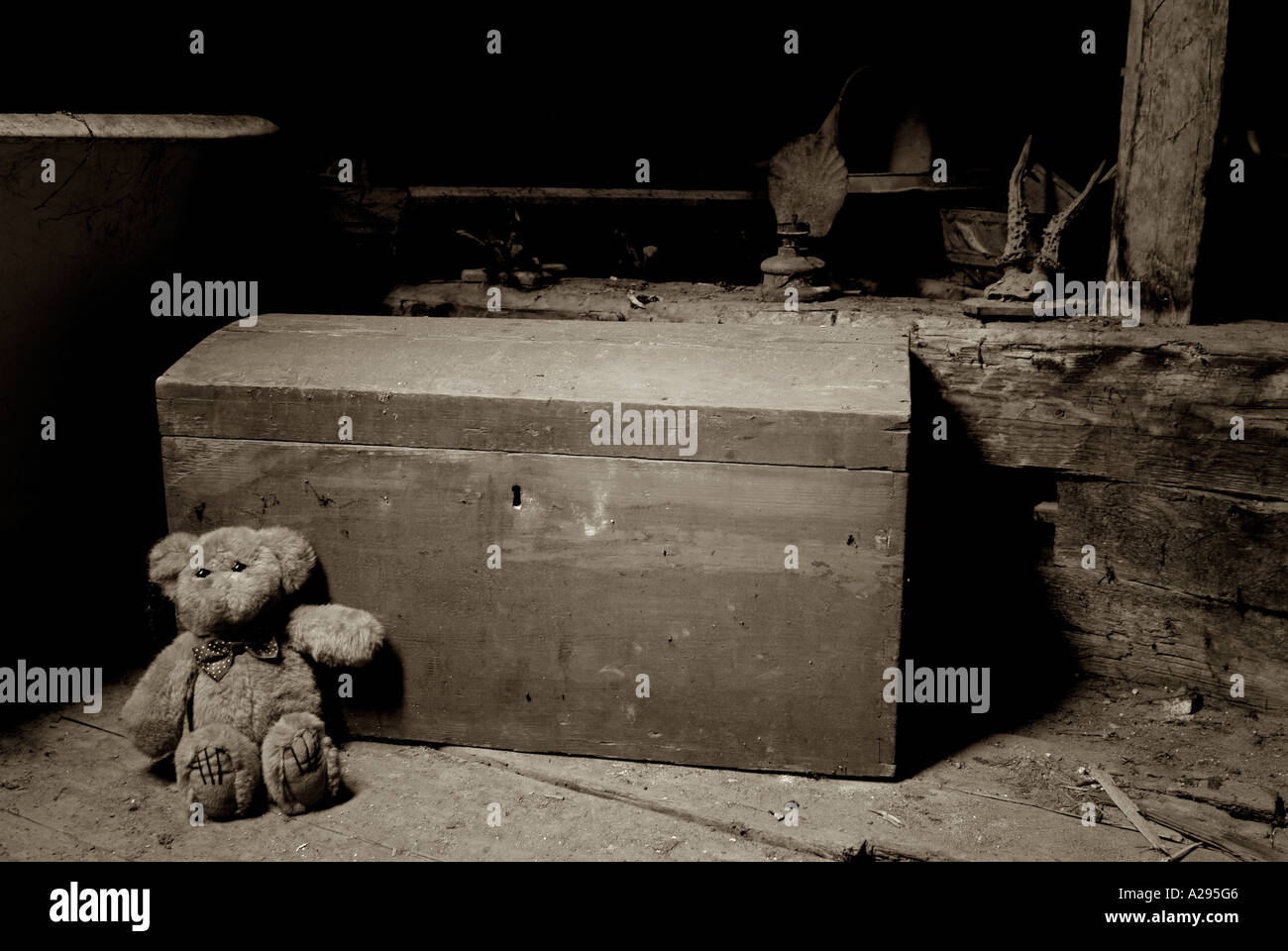 Teddy Bear and an Old Toy Chest in the Dusty Attic Space of a House - Stock Image