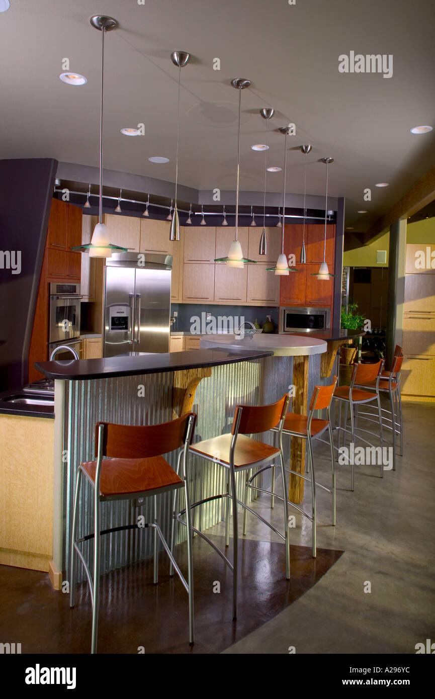 Luxury home interior modern kitchen breakfast bar