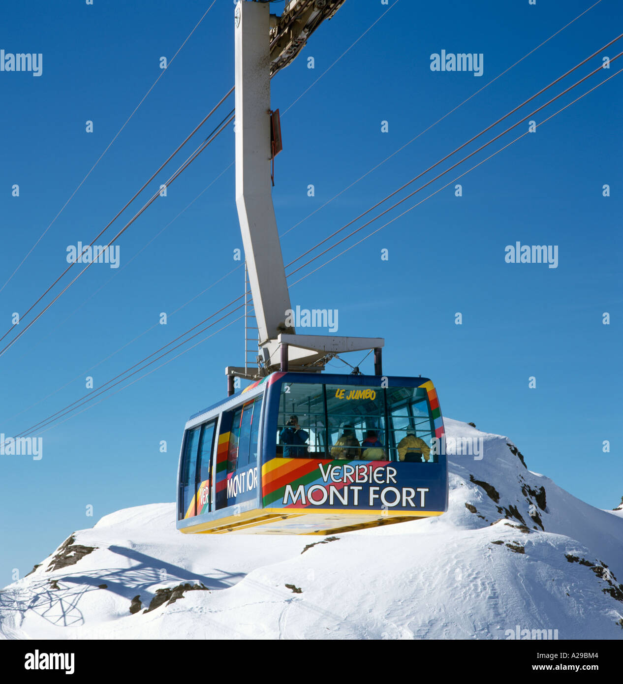 Le Jumbo Cable Car to the Mont Fort ski area, Verbier, Valois, Bernese Alps, Switzerland - Stock Image