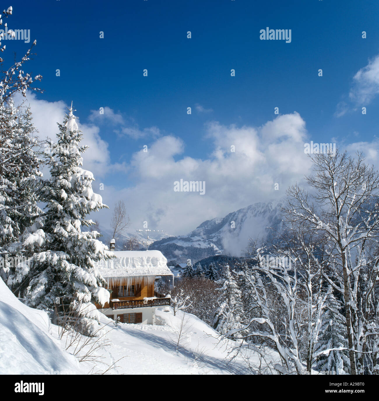 Chalet and View from old village of Leysin, Swiss Alps, Switzerland - Stock Image