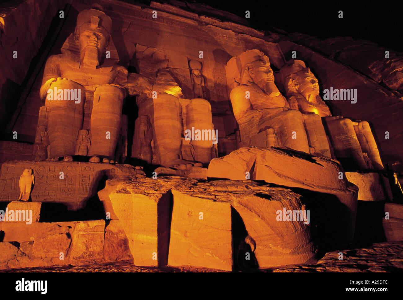 AFRICA EGYPT ABU SIMBEL EGYPTIAN RUINS ILLUMINATED AT NIGHT S Grandadam AFRIQUE EGYPTE ABOU SIMBEL RUINES EGYPTIENNES - Stock Image