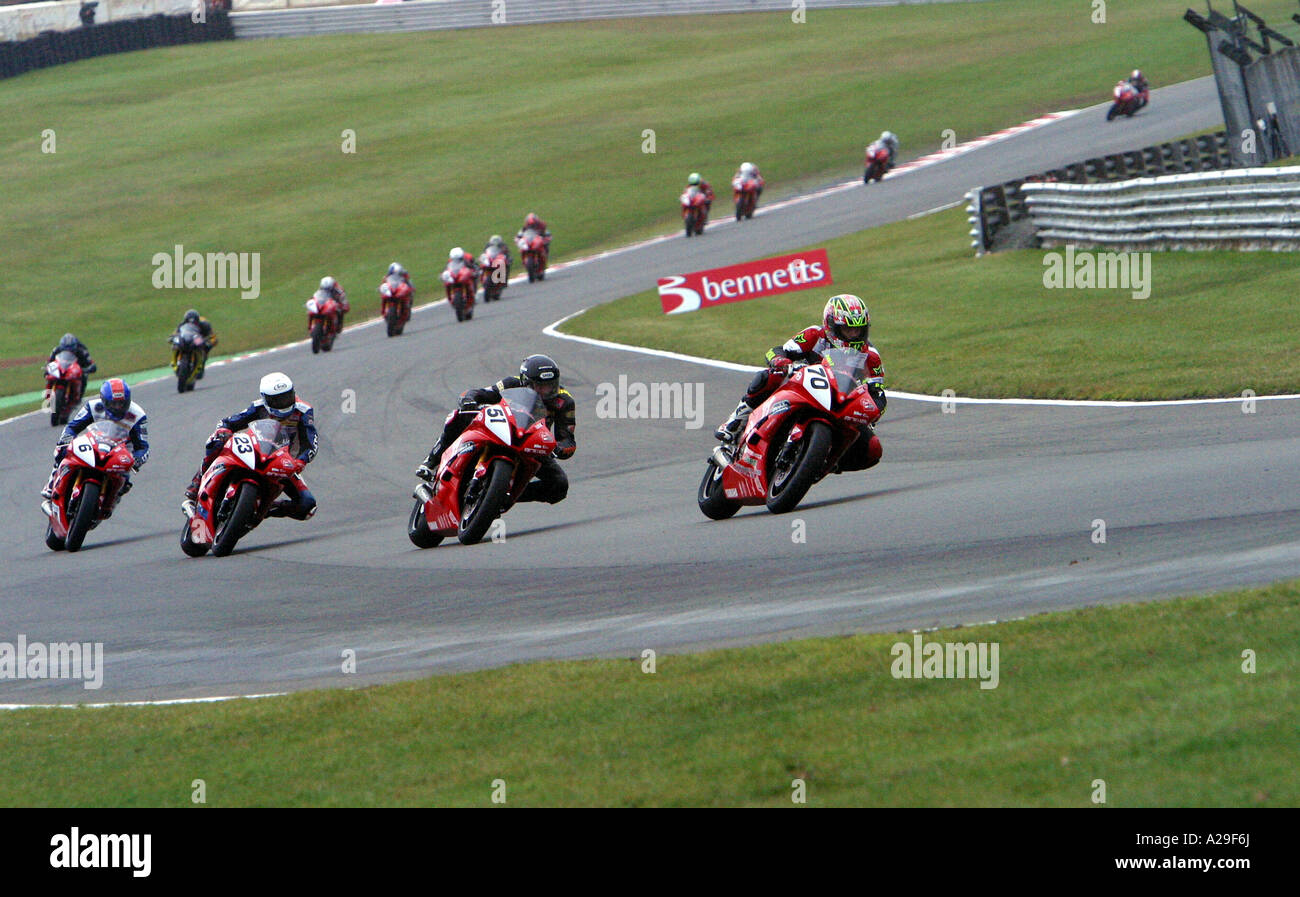 Virgin Yamaha R6 Cup race action from brands hatch in the UK - Stock Image