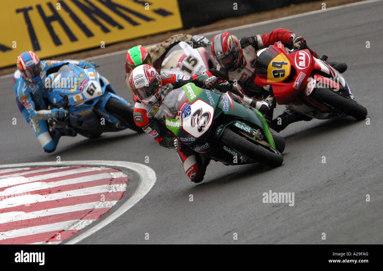 British superbike Racing action in 2006 at Round 1 Brands hatch - Stock Image