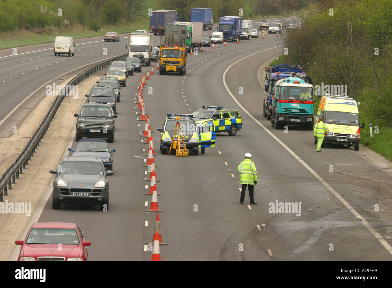 Traffic Cones Motorway Stock Photos & Traffic Cones Motorway Stock