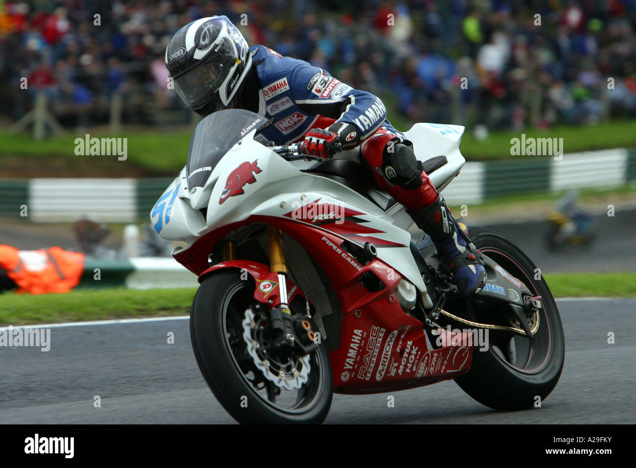Simon Andrews on his Yamaha R6 in the British Supersport Championship - Stock Image
