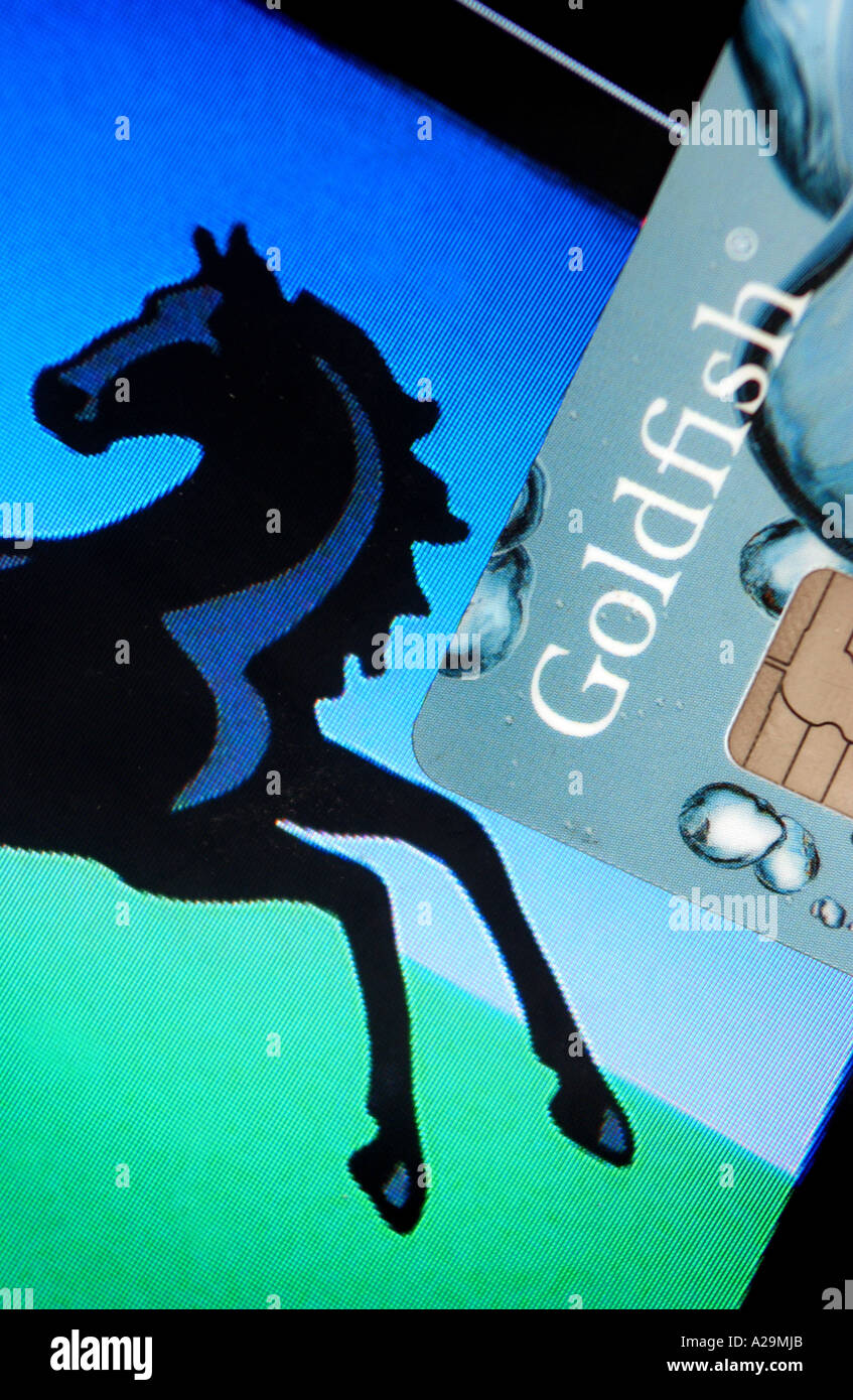 Lloyds bank card stock photos lloyds bank card stock images alamy a goldfish credit card picture with the black horse lloyds bank logo stock image reheart Image collections