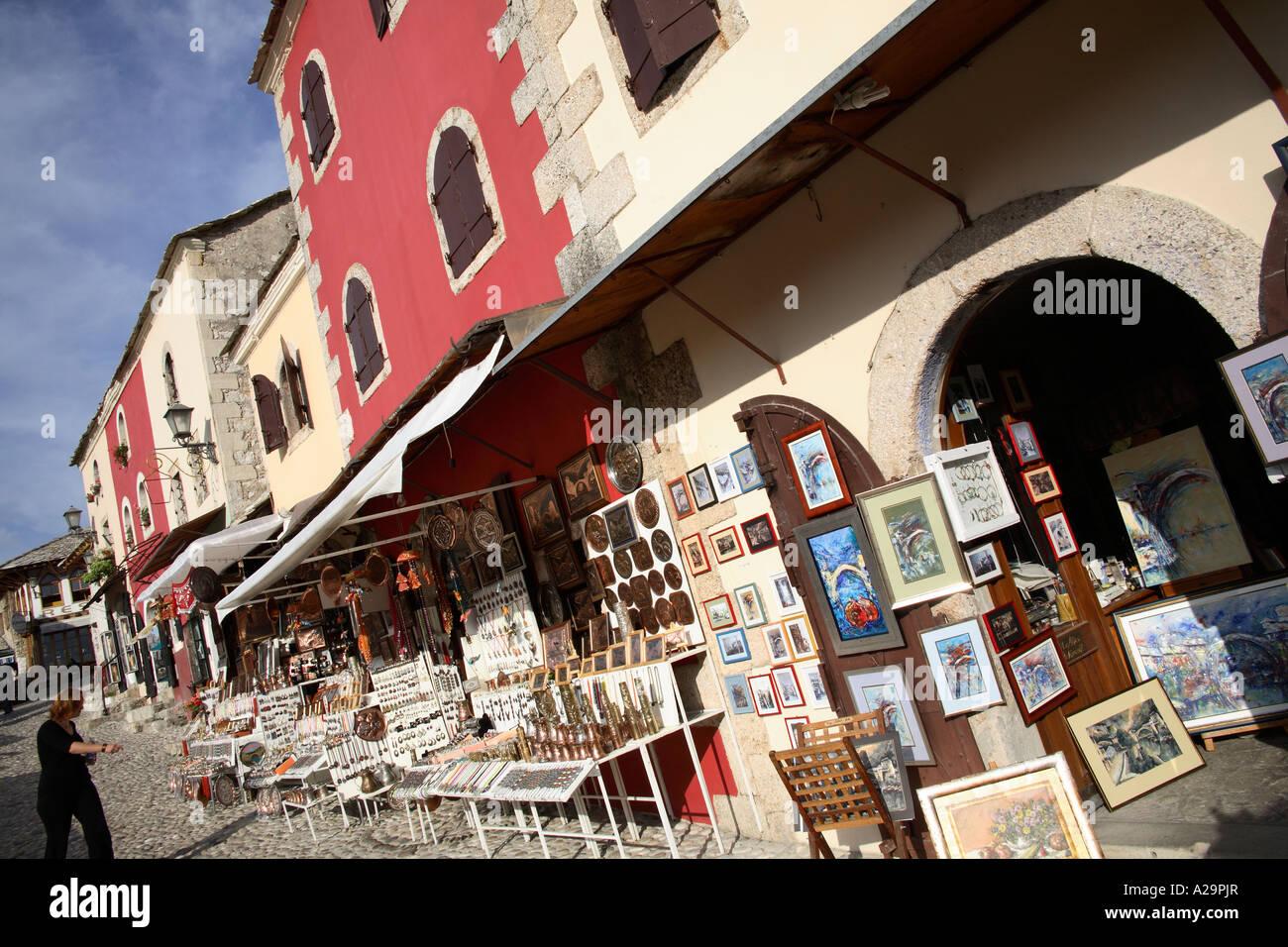 Souvenir shops. Mostar, Bosnia and Herzegovina, Europe - Stock Image