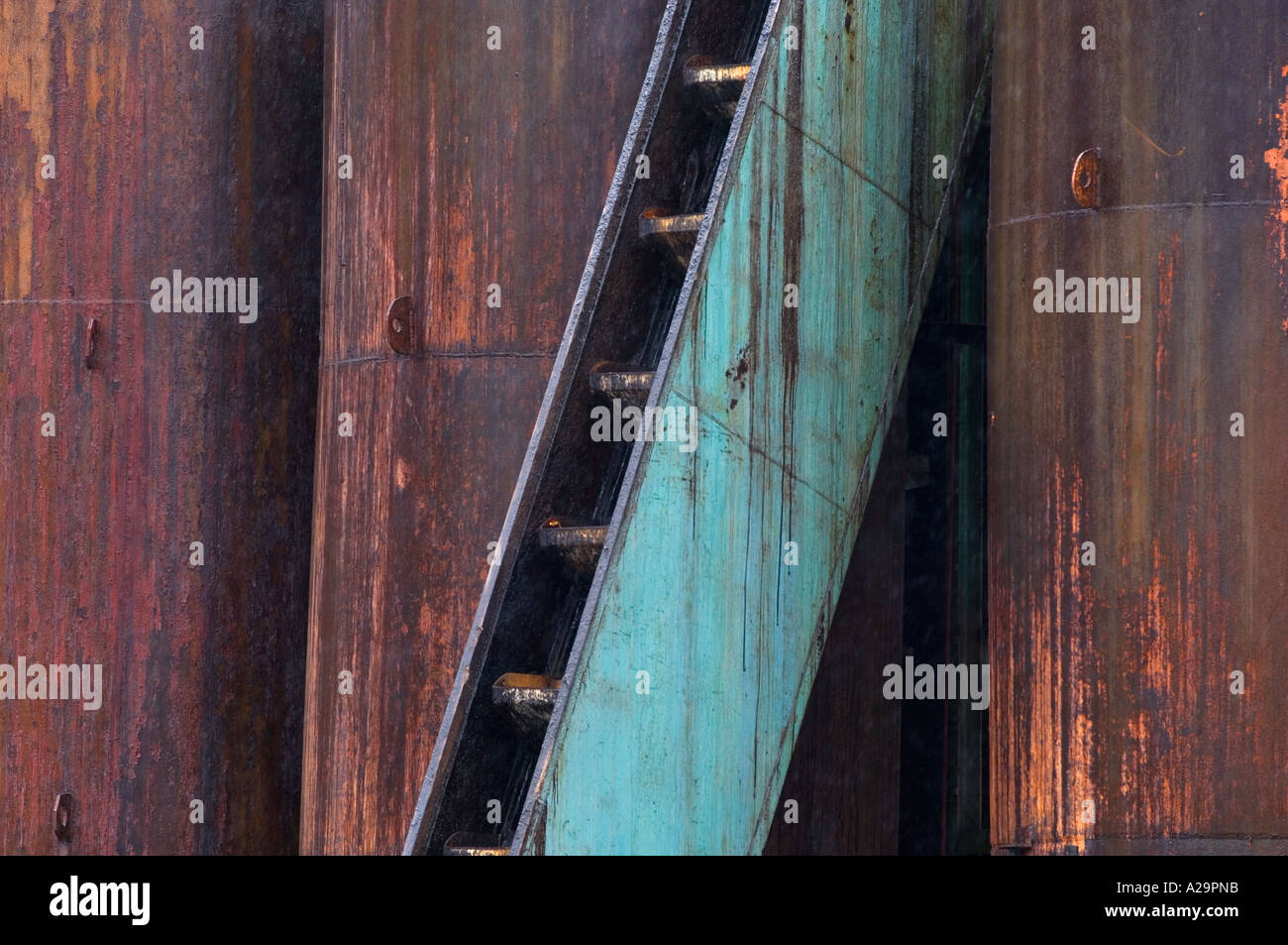 Rusting tanks and stairs, Grytviken Whaling Station, South Georgia island, December 2005 - Stock Image