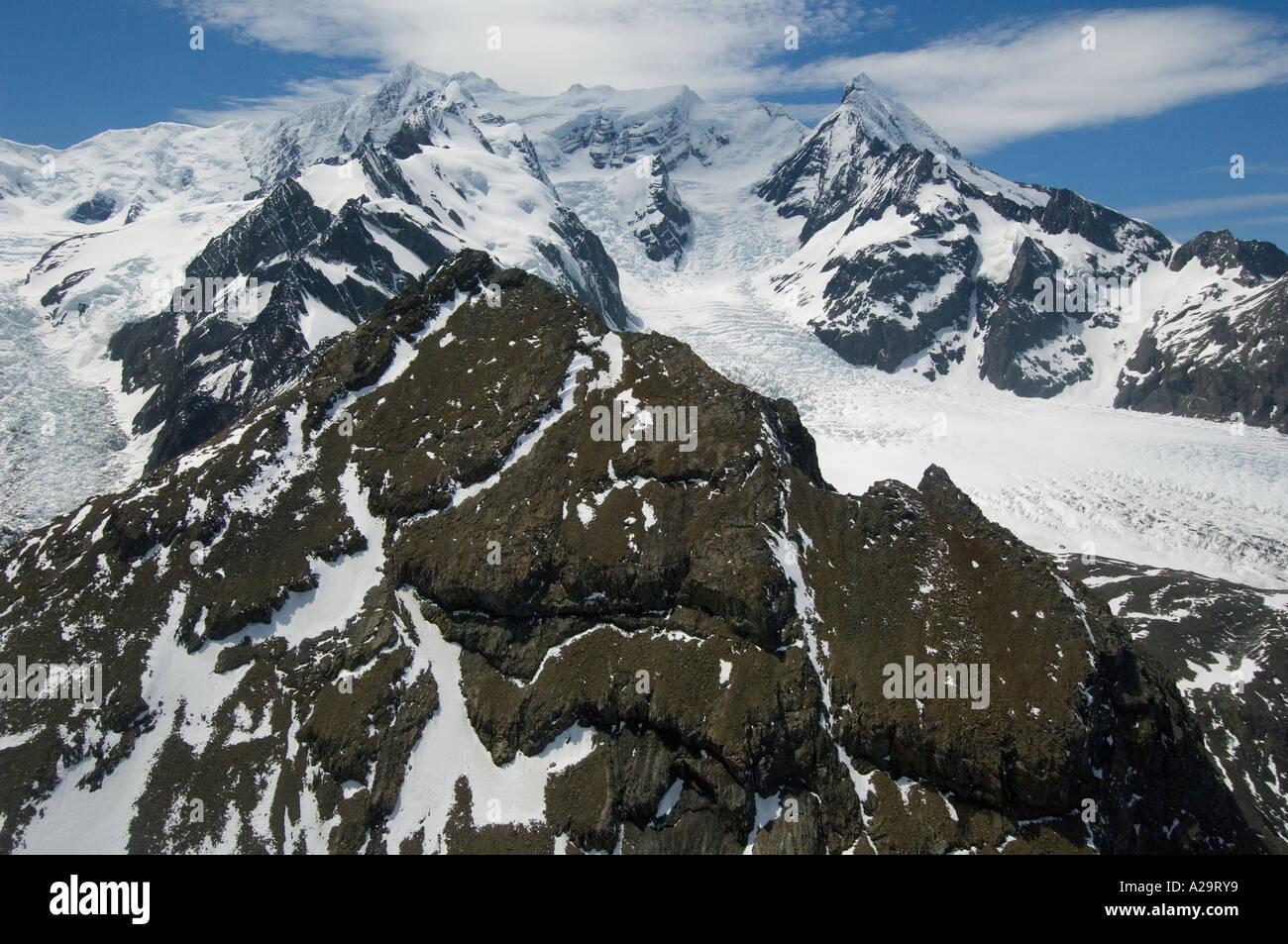 South Georgia Island, Antarctica, Aerial of Reusch Glacier on left side below Mt Roots 2281 m. Stock Photo
