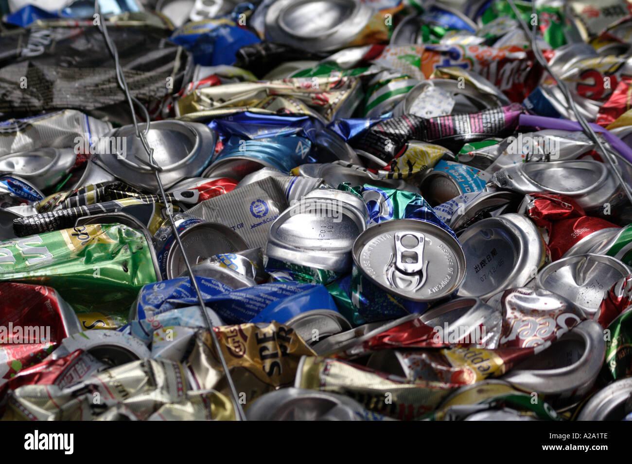 Crushed aluminum cans in a recycling bail, Hong Kong, China - Stock Image