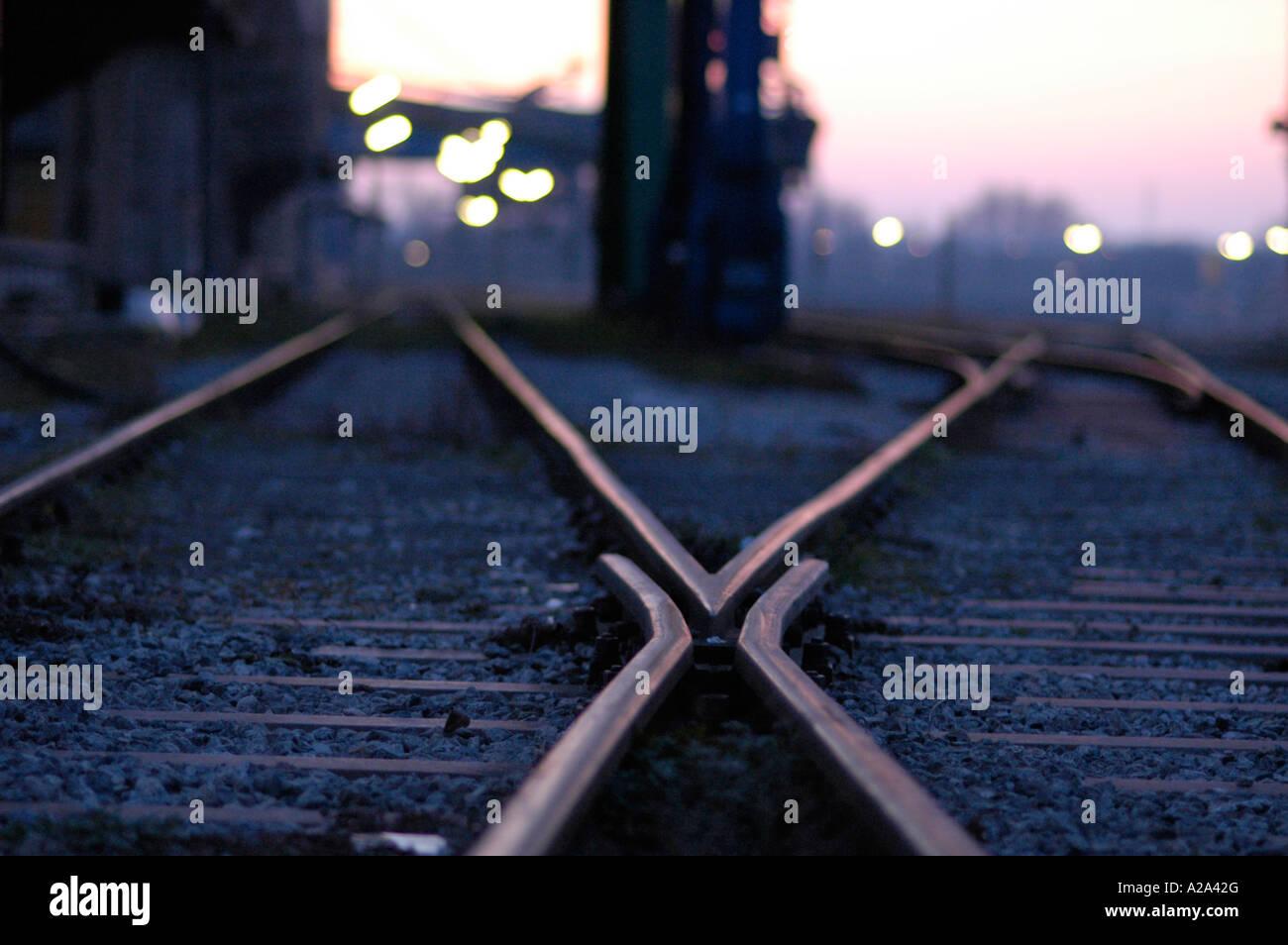 Vienna, railway tracks, bifurcation - Stock Image