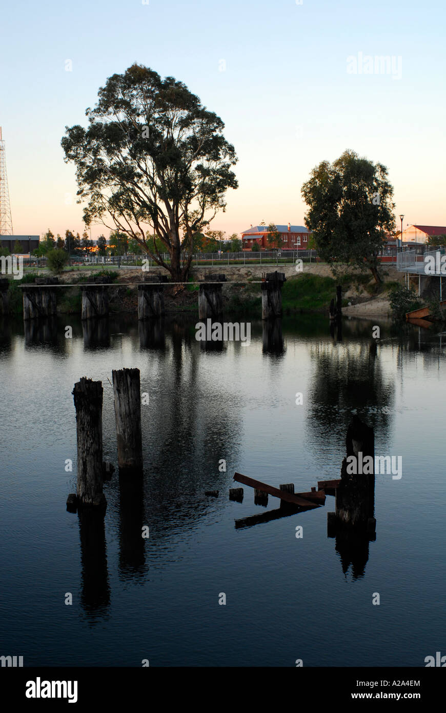 Partially Submerged Pylons Abandoned Water Filled Coal Pit Derelict Stock Photo Alamy
