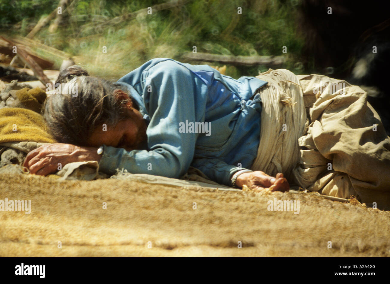woman sleeping Nepal Asia candid unposed winnowing grain on mat harvest agriculture rural portrait rice wheat basket - Stock Image
