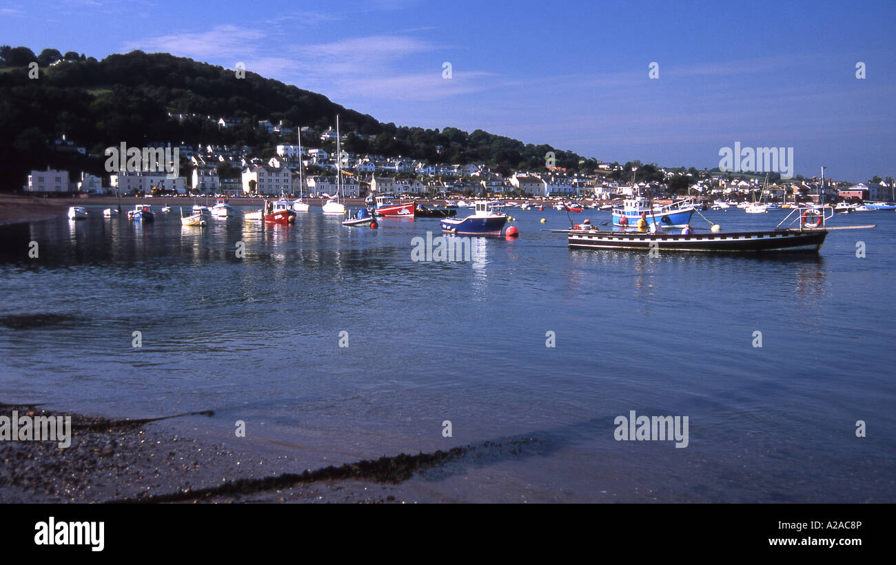 Small craft on the estuary of the River Teign at Teignmouth, South Devon. - Stock Image