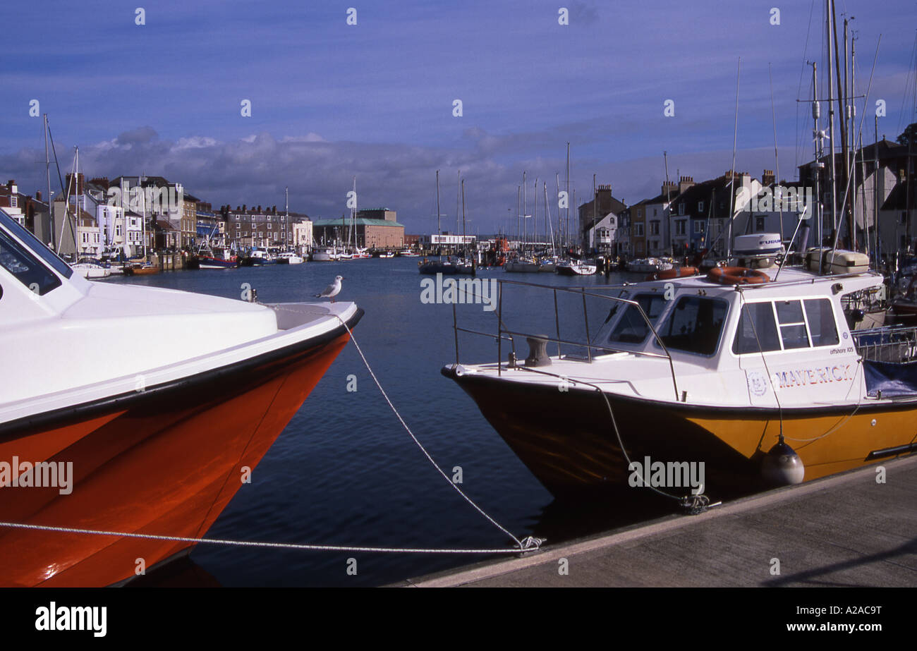 The River Wey and Harbour area at Weymouth, Dorset - Stock Image