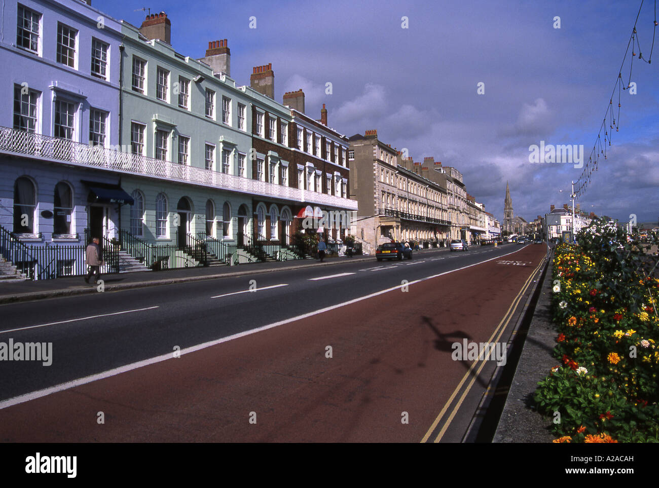 Georgian terraced houses along the sea front at Weymouth, Dorset. - Stock Image