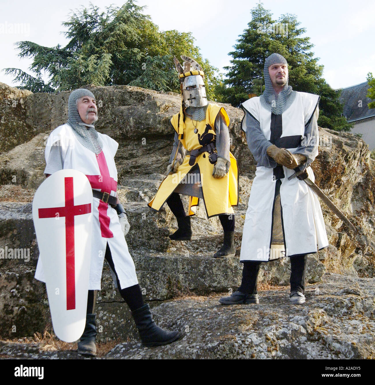 Medieval knights in armor Parthenay, France - Stock Image