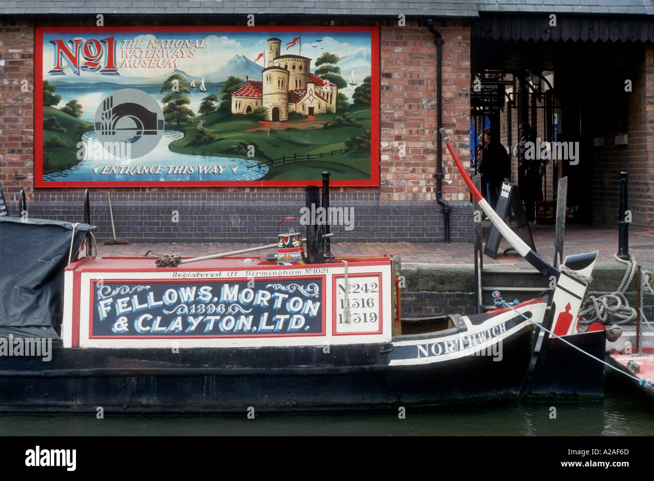 1898 Fellows Morton and Clayton butty Northwich at the National Waterways Museum Gloucester Gloucestershire England UK - Stock Image