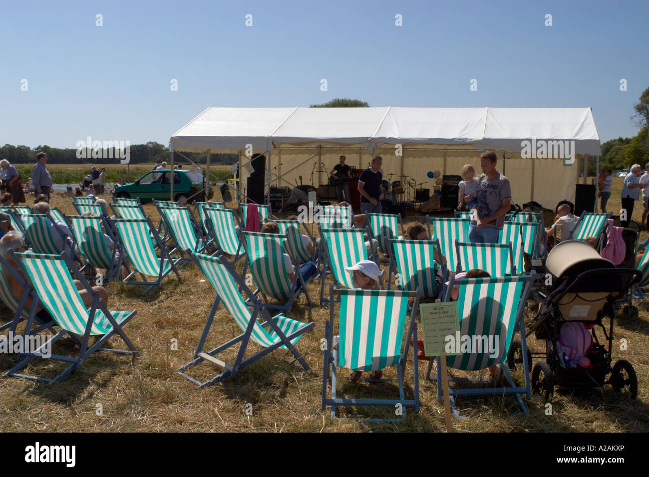 St Ives summer regatta deck chairs in the field Stock Photo