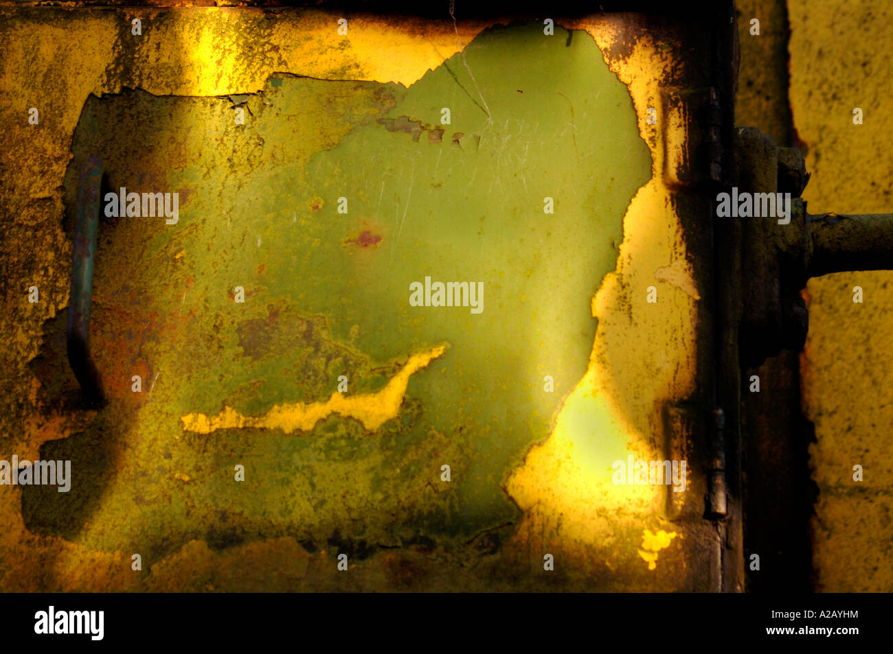 Eroding Metal Surfaces,Featuring A Section Of An Old Industrial Diesel Railway Train. - Stock Image