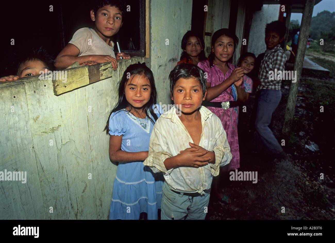 Pupils in tzicau chiapas mexico stock image