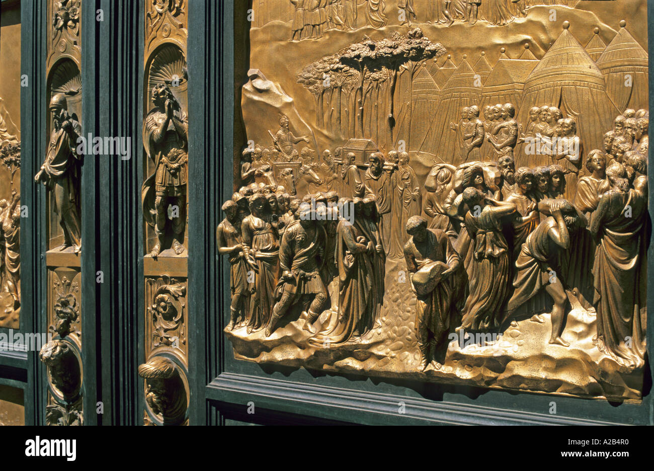 Gilt bronze portal Baptistery Florence Tuscany Italy - Stock Image