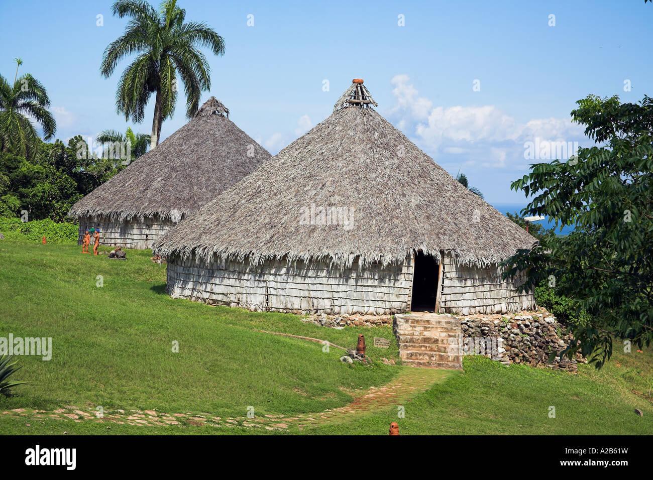 Houses in reproduction Taino Indian village, Chorro de Maita, Banes, near Guardalavaca, Holguin Province, Cuba - Stock Image