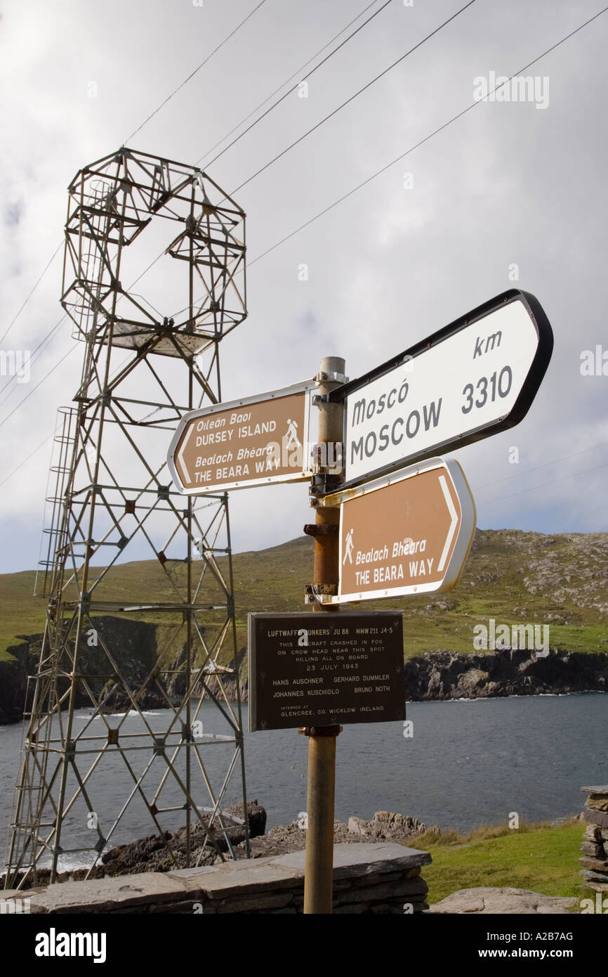 Beara Way long distance walk sign by 'cable car' to Dursey Island on 'Ring of Beara' tourist route - Stock Image
