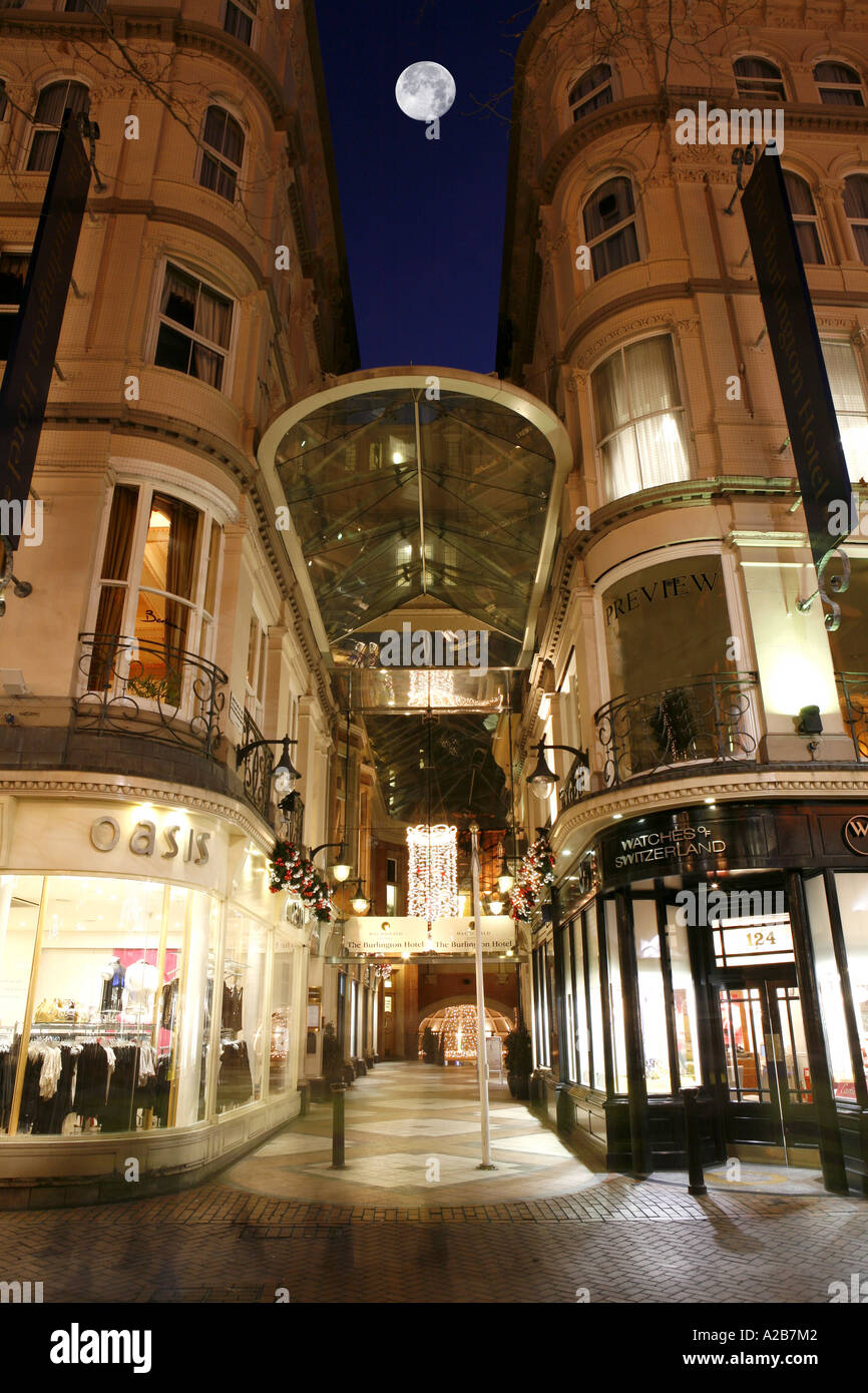 Burlington Arcade in Birmingham City Centre Retail outlets at Christmas time - Stock Image