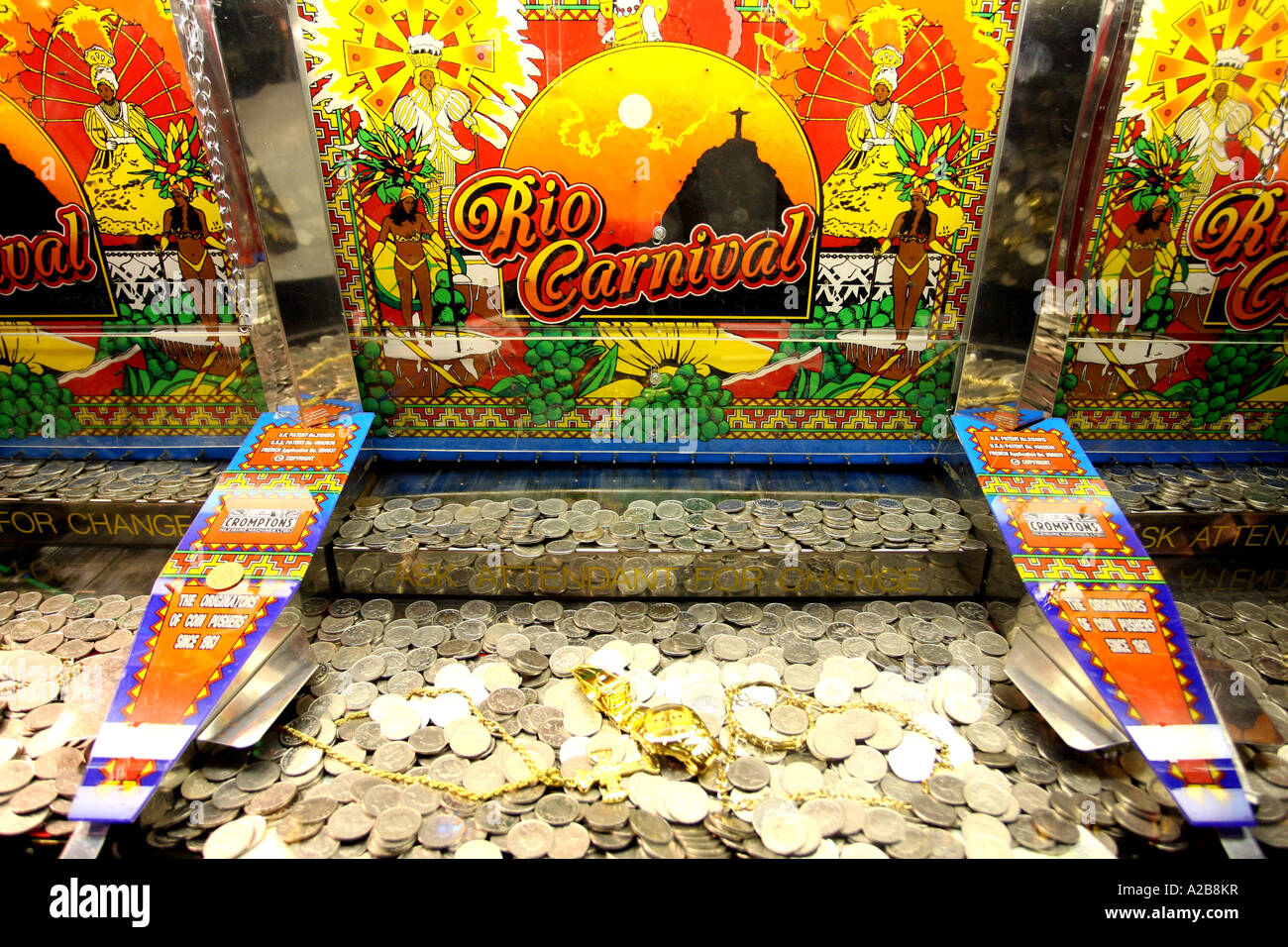 Coin pushing cascade machine in the amusement arcades on ...