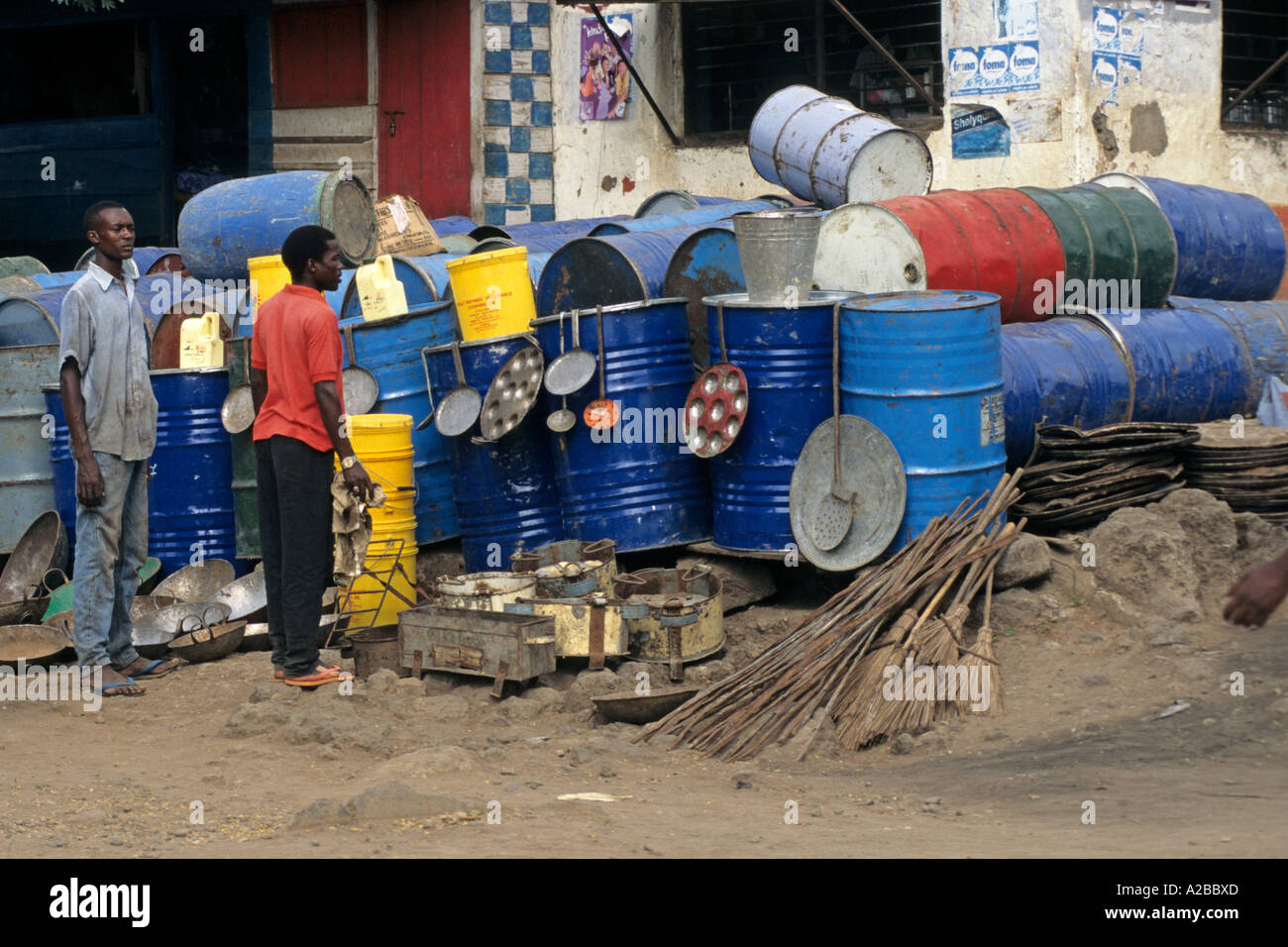 Used oil drums are recycled into cooking stoves and cooking utensils; Moshi; Tanzania Stock Photo