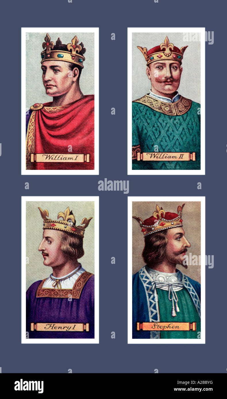 Carreras Kings and Queens of England Series Cigarette Cards 1935 EDITORIAL USE ONLY - Stock Image