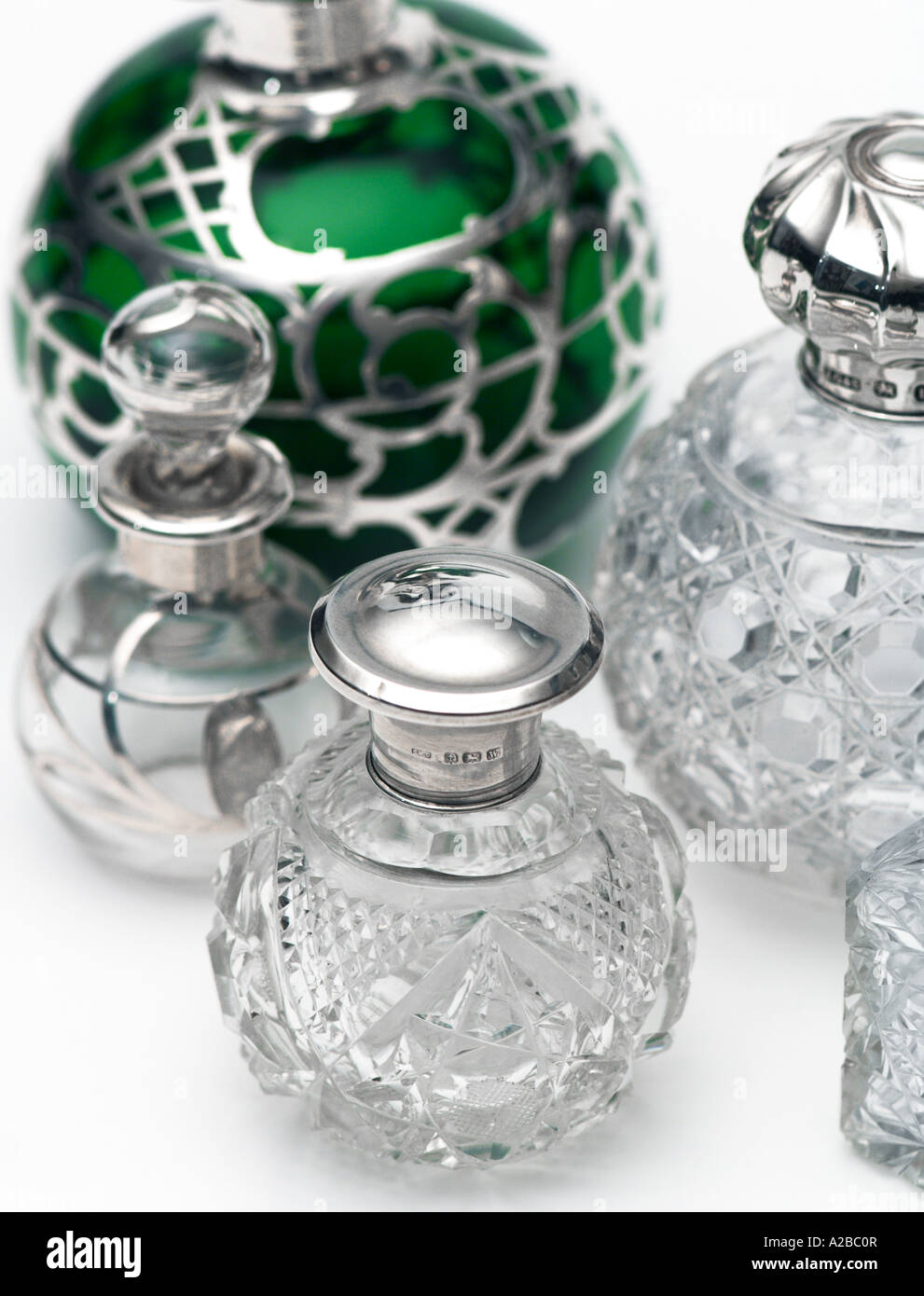 Old Vintage Perfume Bottle Collection early 20th century - Stock Image
