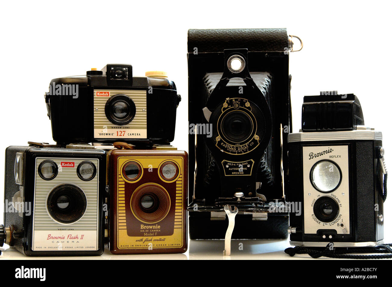 A Collection of old vintage Kodak Brownie Cameras Editorial Use Only - Stock Image