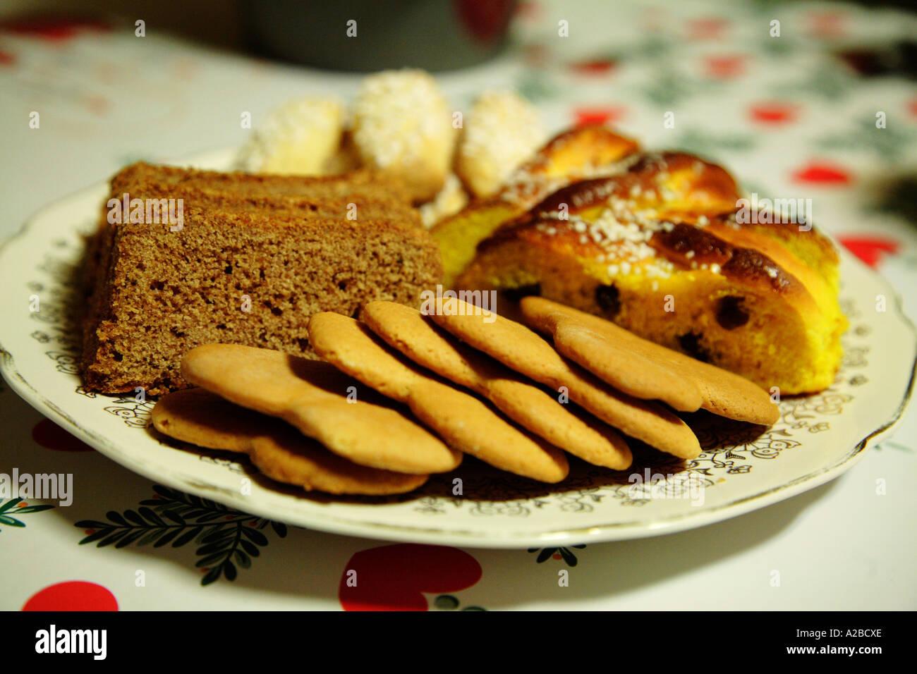 Swedish Christmas Bread.Christmas Bread Plate Ginger Snaps Bread Saffron Bread Sweden Stock
