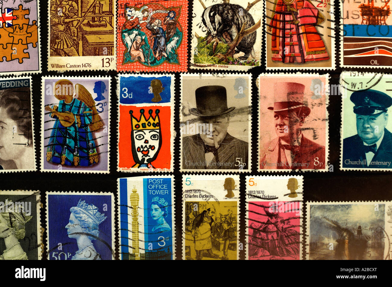 British UK Postage Stamps 1970s - Stock Image
