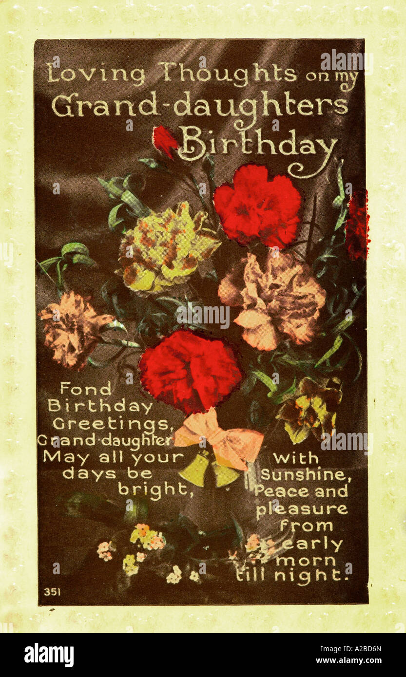 To Grand Daughter Birthday Greetings Post Card Early 20th Century