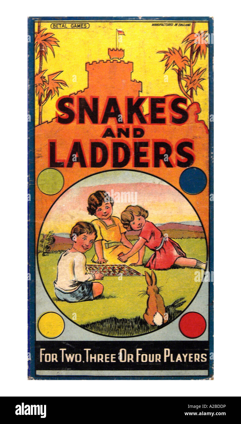 Pre War Snakes and Ladders Game - Stock Image