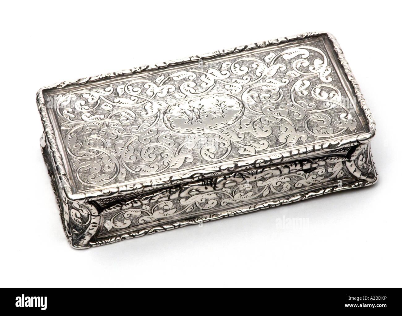 Silver Snuff Box  1834 - Stock Image