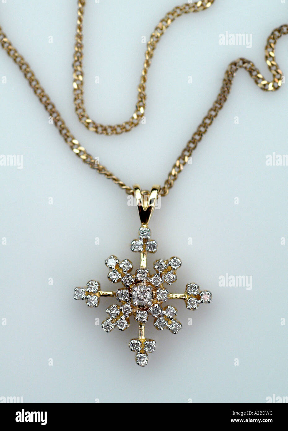 Vintage Diamond and Gold Necklace with Dangle - Stock Image
