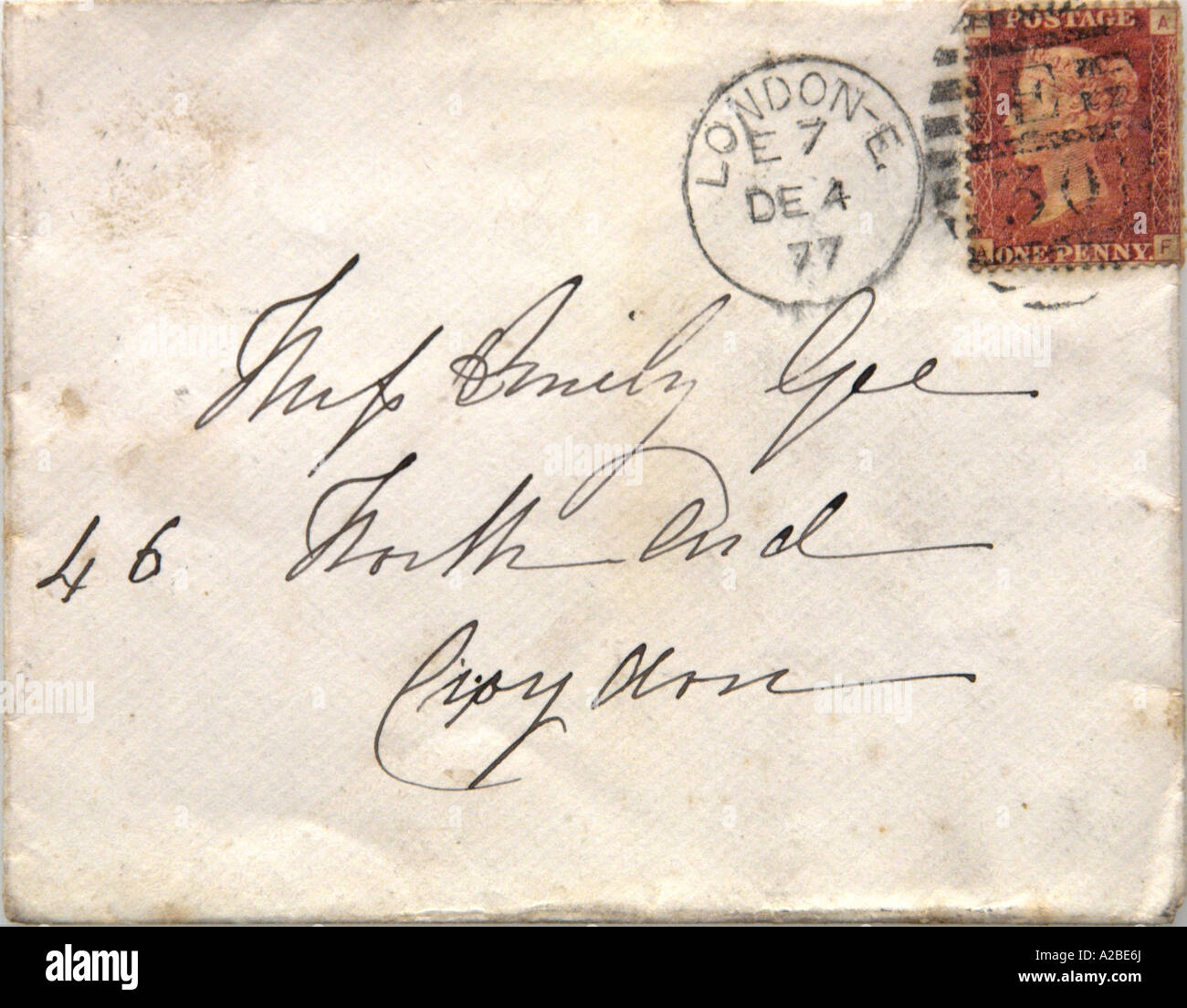 Penny Red on Envelope - Stock Image