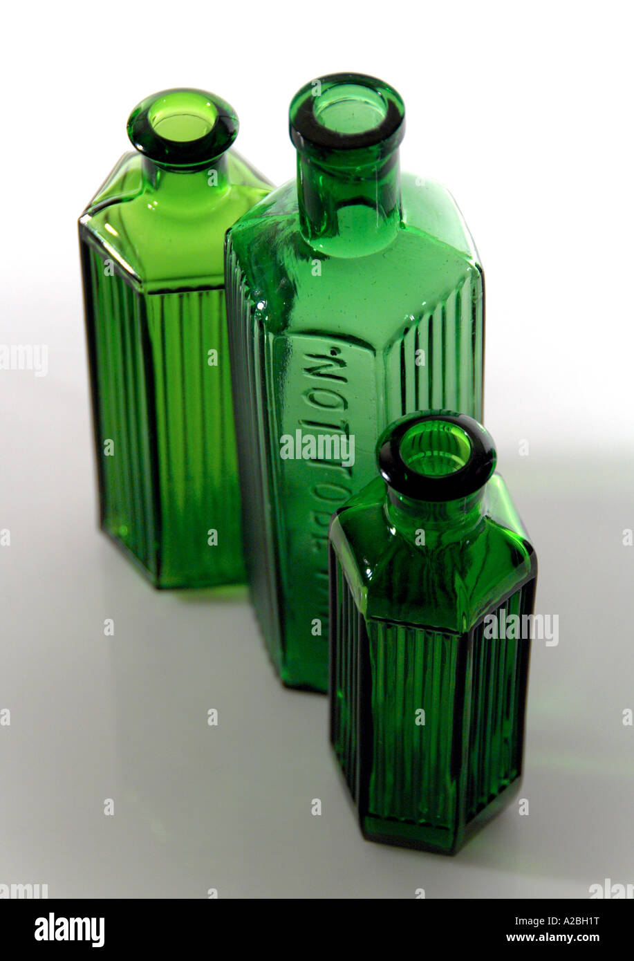 Old Vintage Ridged Victorian Poison Bottles - Stock Image